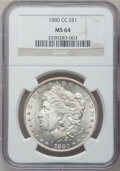 Morgan Dollars: , 1880-CC $1 MS64 NGC. NGC Census: (3000/1811). PCGS Population(4383/3032). Mintage: 591,000. Numismedia Wsl. Price for prob...