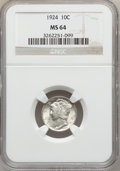 Mercury Dimes: , 1924 10C MS64 NGC. NGC Census: (48/85). PCGS Population (63/64).Mintage: 24,010,000. Numismedia Wsl. Price for problem fre...