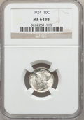 Mercury Dimes: , 1924 10C MS64 Full Bands NGC. NGC Census: (97/176). PCGS Population(190/239). Mintage: 24,010,000. Numismedia Wsl. Price f...