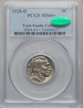 Buffalo Nickels: , 1928-D 5C MS64+ PCGS. CAC. PCGS Population (1289/375). NGC Census:(878/145). Mintage: 6,436,000. Numismedia Wsl. Price for...