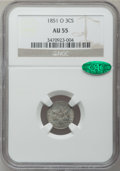 Three Cent Silver: , 1851-O 3CS AU55 NGC. CAC. NGC Census: (24/363). PCGS Population(36/361). Mintage: 720,000. Numismedia Wsl. Price for probl...