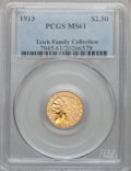 Indian Quarter Eagles: , 1913 $2 1/2 MS61 PCGS. PCGS Population (668/3665). NGC Census:(2516/6432). Mintage: 722,000. Numismedia Wsl. Price for pro...