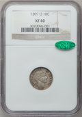 Barber Dimes: , 1897-O 10C XF40 NGC. CAC. NGC Census: (6/58). PCGS Population(11/97). Mintage: 666,000. Numismedia Wsl. Price for problem ...