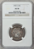Barber Quarters: , 1905-S 25C AU58 NGC. NGC Census: (9/51). PCGS Population (10/78).Mintage: 1,884,000. Numismedia Wsl. Price for problem fre...