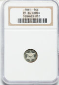 Proof Three Cent Silver, 1861 3CS PR64 Cameo NGC....