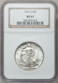 Walking Liberty Half Dollars: , 1943-D 50C MS67 NGC. NGC Census: (302/4). PCGS Population (254/2).Mintage: 11,346,000. Numismedia Wsl. Price for problem f...