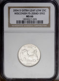 """Statehood Quarters: , 2004-D 25C Wisconsin Extra Leaf Low MS66 NGC. The more prominent ofthe two """"extra leaf"""" Wisconsin varieties, both of which..."""