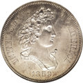 "Patterns: , 1859 P50C Half Dollar, Judd-241, Pollock-297, R.4, PR64 NGC. The ""French Head"" Liberty design for the half dollar, paired w..."