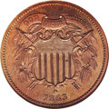 Patterns: , 1863 2C Two Cents, Judd-312, Pollock-377, R.4, PR65 Red and Brown NGC. Both dies are similar to those adopted for the busin...