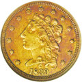 Classic Quarter Eagles: , 1839-C $2 1/2 XF40 ANACS. McCloskey-B, Breen-6149 R.4. The 1839 shows no recutting, and the C mintmark is over the left sid...