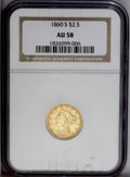 Liberty Quarter Eagles: , 1860-S $2 1/2 AU58 NGC. A honey-gold piece that exhibits somecentral weakness, typical for this issue. Lustrous with light...