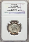 Washington Quarters: , 1932-S 25C -- Improperly Cleaned -- NGC Details. AU. NGC Census:(100/2729). PCGS Population (205/3942). Mintage: 408,000. ...