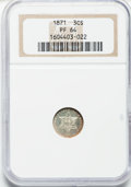Proof Three Cent Silver, 1871 3CS PR64 NGC....