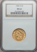 Liberty Half Eagles: , 1906-D $5 MS62 NGC. NGC Census: (862/1003). PCGS Population(612/882). Mintage: 320,000. Numismedia Wsl. Price for problem ...