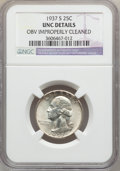 Washington Quarters, 1937-S 25C -- Obv Improperly Cleaned -- NGC Details. UNC. NGCCensus: (0/957). PCGS Population (1/1801). Mintage: 1,652,000...