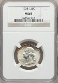 Washington Quarters: , 1938-S 25C MS65 NGC. NGC Census: (451/291). PCGS Population(808/399). Mintage: 2,832,000. Numismedia Wsl. Price for proble...