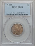 Liberty Nickels: , 1912-D 5C MS64 PCGS. PCGS Population (294/172). NGC Census:(306/114). Mintage: 8,474,000. Numismedia Wsl. Price for proble...