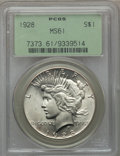 Peace Dollars: , 1928 $1 MS61 PCGS. PCGS Population (270/5553). NGC Census:(540/3653). Mintage: 360,649. Numismedia Wsl. Price for problem ...