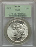 Peace Dollars: , 1928 $1 MS60 PCGS. PCGS Population (76/5823). NGC Census:(78/4193). Mintage: 360,649. Numismedia Wsl. Price for problemfr...
