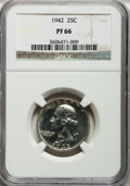 Proof Washington Quarters: , 1942 25C PR66 NGC. NGC Census: (703/229). PCGS Population(965/160). Mintage: 21,123. Numismedia Wsl. Price for problemfre...