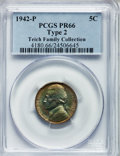 Proof Jefferson Nickels: , 1942-P 5C Type Two PR66 PCGS. EX:Teich Family Collection. PCGSPopulation (1416/340). NGC Census: (1017/377). Mintage: 27,6...