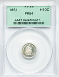 Proof Seated Half Dimes: , 1864 H10C PR64 PCGS. PCGS Population (45/31). NGC Census: (35/39).Mintage: 470. Numismedia Wsl. Price for problem free NGC...