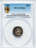 Proof Seated Dimes: , 1888 10C PR64 PCGS Secure. PCGS Population (52/40). NGC Census:(72/69). Mintage: 832. Numismedia Wsl. Price for problem fr...