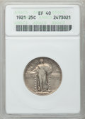 Standing Liberty Quarters: , 1921 25C XF40 ANACS. NGC Census: (26/470). PCGS Population(50/663). Mintage: 1,916,000. Numismedia Wsl. Price for problem ...
