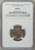 Buffalo Nickels: , 1913-S 5C Type One MS65 NGC. NGC Census: (219/68). PCGS Population(307/142). Mintage: 2,105,000. Numismedia Wsl. Price for...