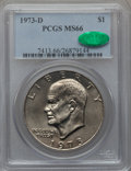 Eisenhower Dollars: , 1973-D $1 MS66 PCGS. CAC. PCGS Population (282/10). NGC Census:(64/2). Mintage: 2,000,000. Numismedia Wsl. Price for probl...