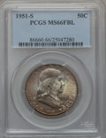 Franklin Half Dollars: , 1951-S 50C MS66 Full Bell Lines PCGS. PCGS Population (98/1). NGCCensus: (0/0). Numismedia Wsl. Price for problem free NG...