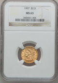 Liberty Quarter Eagles: , 1907 $2 1/2 MS63 NGC. NGC Census: (1930/3575). PCGS Population(2656/3711). Mintage: 336,200. Numismedia Wsl. Price for pro...