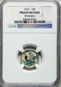 1939 10C -- Stained -- NGC Details. Proof. NGC Census: (0/1820). PCGS Population (1/2635). Mintage: 9,321. Numismedia Ws...
