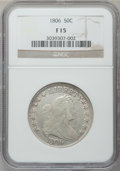 Early Half Dollars: , 1806 50C Pointed 6, Stem Fine 15 NGC. NGC Census: (60/1649). PCGSPopulation (79/805). Mintage: 839,576. Numismedia Wsl. Pr...