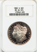 Morgan Dollars: , 1882-S $1 MS64 Deep Mirror Prooflike NGC. NGC Census: (167/79).PCGS Population (73/42). Numismedia Wsl. Price for problem...