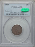 Indian Cents, 1868 1C AU58 PCGS. CAC. Snow-1, Doubled Die Obverse.. From TheMalibou Lake Collection....