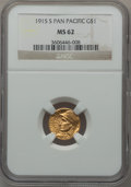 Commemorative Gold: , 1915-S G$1 Panama-Pacific Gold Dollar MS62 NGC. NGC Census:(389/3021). PCGS Population (430/4655). Mintage: 15,000. Numism...