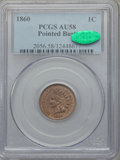 Indian Cents: , 1860 1C Pointed Bust AU58 PCGS. CAC. PCGS Population (19/206). NGCCensus: (0/0). . From The Malibou Lake Collection....
