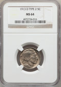 Buffalo Nickels: , 1913-D 5C Type Two MS64 NGC. NGC Census: (226/101). PCGS Population(324/196). Mintage: 4,156,000. Numismedia Wsl. Price fo...