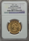 Liberty Eagles: , 1851 $10 -- Improperly Cleaned -- NGC Details. Unc. NGC Census:(5/16). PCGS Population (1/10). Mintage: 176,328. Numismedi...