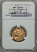 Indian Half Eagles: , 1915-S $5 -- Removed From Jewelry -- NGC Details. Unc. NGC Census:(22/236). PCGS Population (3/258). Mintage: 164,000. Num...