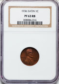 Proof Lincoln Cents, 1936 1C Type One--Satin Finish PR63 Red and Brown NGC. NGC Census:(21/75). PCGS Population (34/113). Mintage: 5,569. Numis...