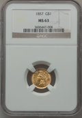Gold Dollars: , 1857 G$1 MS63 NGC. NGC Census: (85/49). PCGS Population (97/67).Mintage: 774,789. Numismedia Wsl. Price for problem free N...