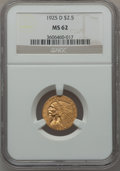 Indian Quarter Eagles: , 1925-D $2 1/2 MS62 NGC. NGC Census: (6200/8895). PCGS Population(3502/5886). Mintage: 578,000. Numismedia Wsl. Price for p...