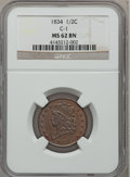 Half Cents: , 1834 1/2 C MS62 Brown NGC. C-1. NGC Census: (63/166). PCGSPopulation (37/152). Mintage: 141,000. Numismedia Wsl. Price fo...