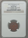 Civil War Merchants, 1863 Adam Metz, Butcher, Cincinnati, OH, MS62 Brown NGC.Fuld-OH165DP-5a. Incorrectly attributed by NGC asFuld-OH165DP-1a...