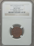 Civil War Merchants, 1863 H. Kreber, Grocer, Cincinnati, OH, MS63 Brown NGC.Fuld-OH165CV-2a. Incorrectly attributed by NGC asFuld-OH165CU-1a....