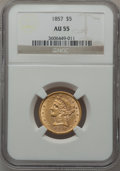 Liberty Half Eagles: , 1857 $5 AU55 NGC. NGC Census: (47/138). PCGS Population (36/65).Mintage: 98,180. Numismedia Wsl. Price for problem free NG...