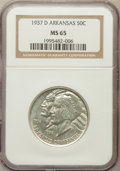 Commemorative Silver: , 1937-D 50C Arkansas MS65 NGC. NGC Census: (306/83). PCGS Population(358/150). Mintage: 5,505. Numismedia Wsl. Price for pr...