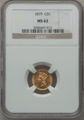 Gold Dollars: , 1879 G$1 MS62 NGC. NGC Census: (28/120). PCGS Population (22/193).Mintage: 3,000. Numismedia Wsl. Price for problem free N...